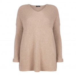 SANDRA PORTELLI RIBBED PURE CASHMERE SWEATER TAUPE - Plus Size Collection