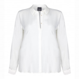 PERSONA CLASSIC WHITE SILK MIX CREPE SHIRT  - Plus Size Collection