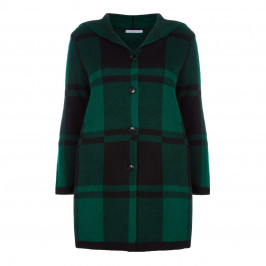 LUISA VIOLA GREEN CHECK HOODED COAT - Plus Size Collection