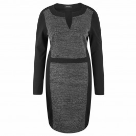 ELENA MIRO JERSEY TWEED FRONT DRESS  - Plus Size Collection