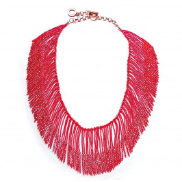 VANITY RED FRINGED BEAD NECKLACE - Plus Size Collection