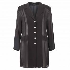 Beige Long black chiffon Jacket - Plus Size Collection