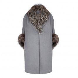 YOEK FUR TRIM PURE CASHMERE HOODED COAT - Plus Size Collection