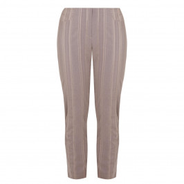BEIGE PULL ON TAUPE STRIPE TROUSER - Plus Size Collection