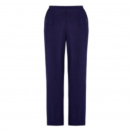 QNEEL CHEESECLOTH LINEN TROUSER NAVY - Plus Size Collection
