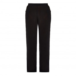QNEEL CHEESECLOTH LINEN TROUSER BLACK - Plus Size Collection