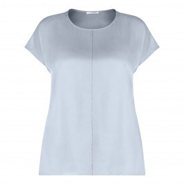 PIAZZA DELLA SCALA CAP SLEEVE SATIN TOP BABY BLUE - Plus Size Collection