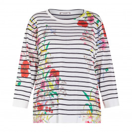ELENA MIRO STRIPE KNITTED TUNIC WITH FLORAL PRINT - Plus Size Collection