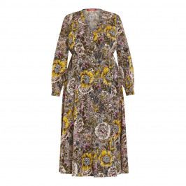 MARINA RINALDI PRINTED CREPE DRESS