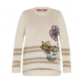 MARINA RINALDI EMBROIDERED SWEATER BEIGE - Plus Size Collection
