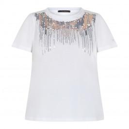 MARINA RINALDI SEQUIN T-SHIRT WHITE  - Plus Size Collection