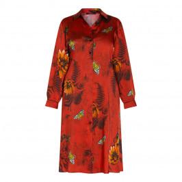 MARINA RINALDI TWILL PRINT DRESS RED - Plus Size Collection