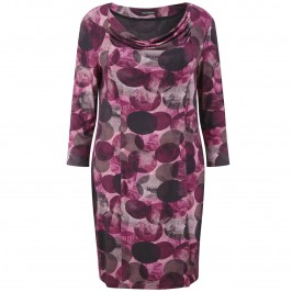 Elena Grunert pink print long sleeve draped neck dress - Plus Size Collection