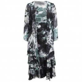 Capri black print with beaded trim silk dress and jacket - Plus Size Collection