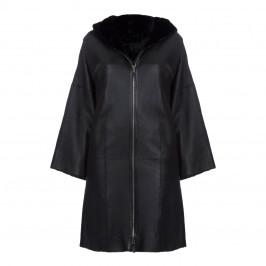 YOEK HOODED LAMBSKIN BLACK COAT - Plus Size Collection