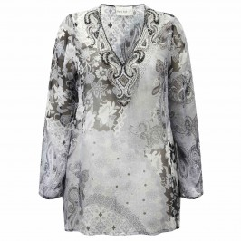 OPEN END silver silk Kaftan - Plus Size Collection