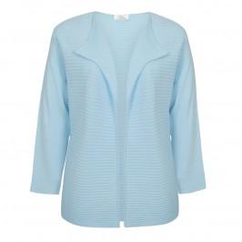 Karin baby blue horizontally ribbed edge to edge cardigan - Plus Size Collection
