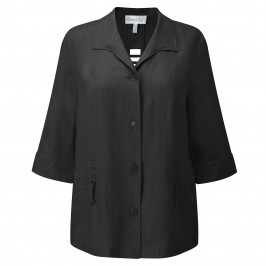 CHALOU BLACK LINEN JACKET - Plus Size Collection