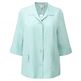 CHALOU AQUA LINEN JACKET - Plus Size Collection