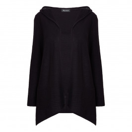 BEIGE LABEL BLACK HOODED CARDIGAN - Plus Size Collection