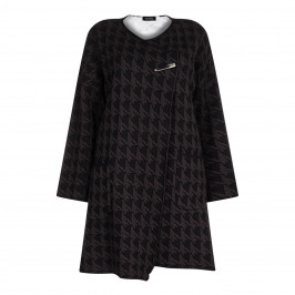 BEIGE label charcoal KNITTED jacquard COAT - Plus Size Collection