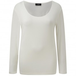 WILLE ecru SCOOP NECK TOP - Plus Size Collection