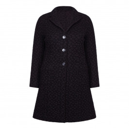 BEIGE LABEL BLACK LONG WOOL BLEND KNITTED COAT - Plus Size Collection
