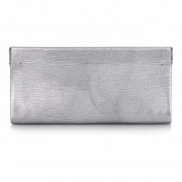 Abro Silver Leather Clutch - Plus Size Collection