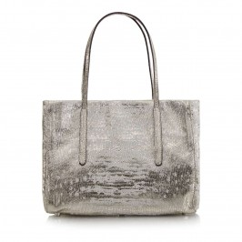 ABRO SMALL SILVER TEXTURED LEATHER TOTE - Plus Size Collection