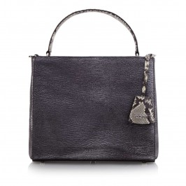 ABRO GUNMETAL LEATHER BAG WITH PYTHON DETAILS AND SHOULDER STRAP - Plus Size Collection