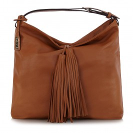 ABRO TAN LEATHER HOBO BAG