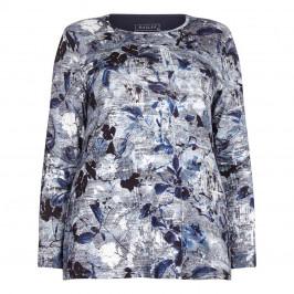 BEIGE label blue floral print jersey TOP - Plus Size Collection