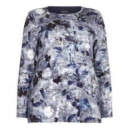 BEIGE label blue floral print jersey TOP - Plus Size Collection