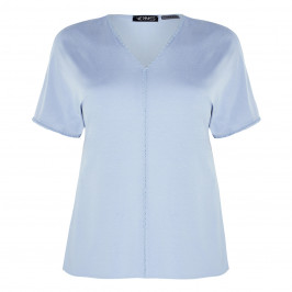 VERPASS V-NECK TOP BABY BLUE - Plus Size Collection