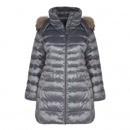 ROF AMO gunmetal PUFFA COAT with fur trimmed hood - Plus Size Collection