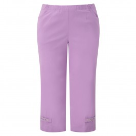 CHALOU PINK CROPPED TROUSERS - Plus Size Collection