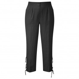CHALOU BLACK LINEN CROP TROUSERS - Plus Size Collection