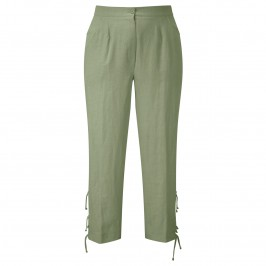 CHALOU KHAKI LINEN CROP TROUSERS - Plus Size Collection
