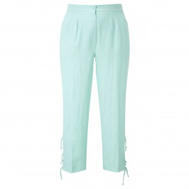 CHALOU AQUA LINEN CROP TROUSERS - Plus Size Collection