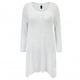 Yoek silver and white fine Knit Tunic - Plus Size Collection