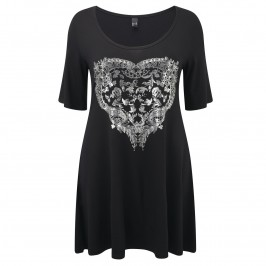 Yoek black and silver heart Tunic - Plus Size Collection