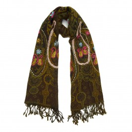 Bijoux khaki embroidered wool SCARF - Plus Size Collection