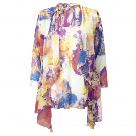 Georgedé multi-colour print chiffon jacket and vest - Plus Size Collection