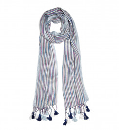 BEIGE label blue stripe fringed SCARF - Plus Size Collection