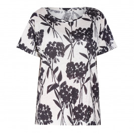 ZAIDA FLORAL PRINT T-SHIRT BLACK AND WHITE - Plus Size Collection