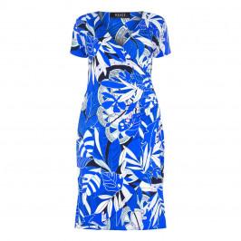 Beige Plus Blue Print Dress - Plus Size Collection