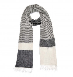 BEIGE wide stripe fringed SCARF - Plus Size Collection