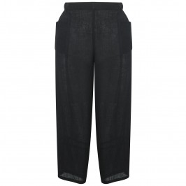 Q'NEEL BLACK CRUSHED LINEN CROP TROUSERS - Plus Size Collection
