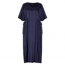 QNEEL STRIPED CLOTH DRESS NAVY  - Plus Size Collection