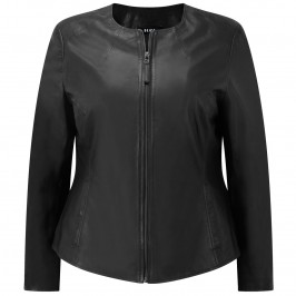 BEIGE BLACK LEATHER JACKET - Plus Size Collection